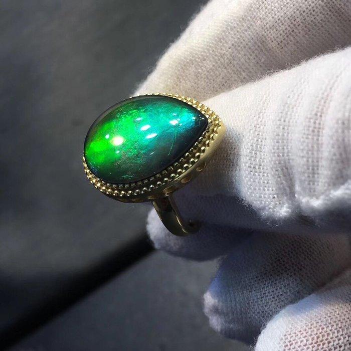 ❤妙玉生花優品購❤天然🇨🇦加拿大🇨🇦極品斑彩石水滴戒指!