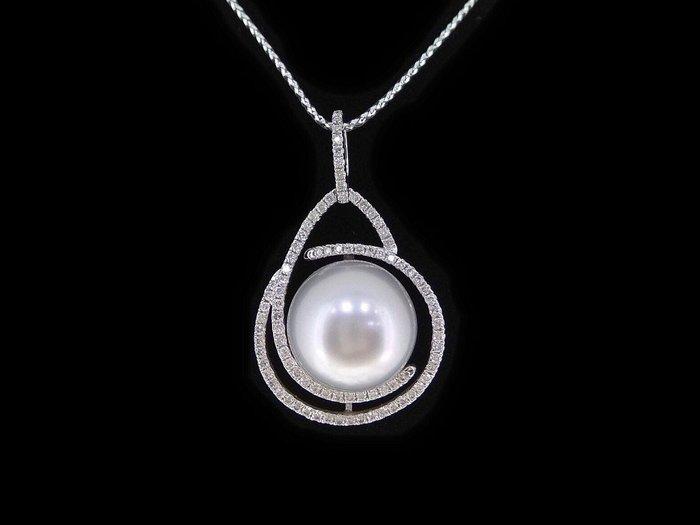 天然奢華銀珍珠【13mm】銀灰色調