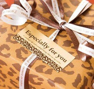 咖啡色豹紋Especially for you封口貼一張8入10元禮品包裝貼紙.DIY裝飾貼. opp包裝袋~幸福生活館