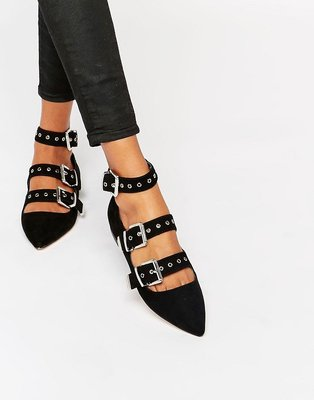 ◎美國代買◎ASOS代買金屬鉚釘裝飾皮扣排列鞋面英倫龐克風尖頭皮扣平底鞋~歐美街風~大尺碼