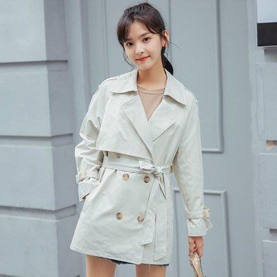 風衣 外套 中長款大衣-白色雙排扣百搭簡約女外套73ue1[獨家進口][米蘭精品]