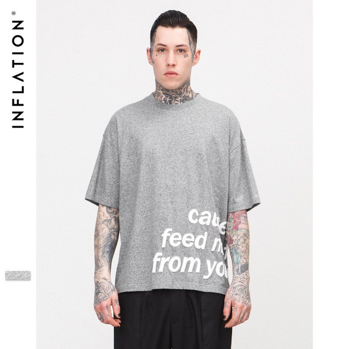 TST- 英文 文字 素面  寬鬆 大尺寸 oversize 落肩五分袖 短袖T恤 短T 情侶款美式西岸