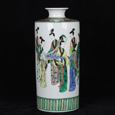 ㊣三顧茅廬㊣    大清康熙年制款古彩仕女人物紋燈籠瓶   古瓷器古玩收藏擺件