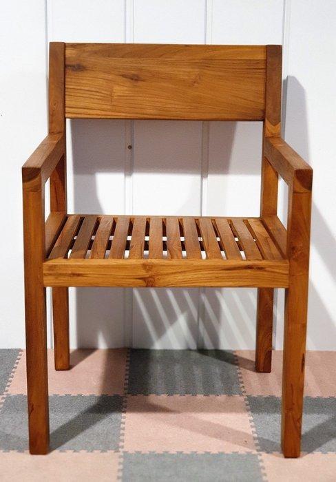 幸福家傢俱 柚木邊椅(CHAIR2)休閒椅,全實木扶手椅