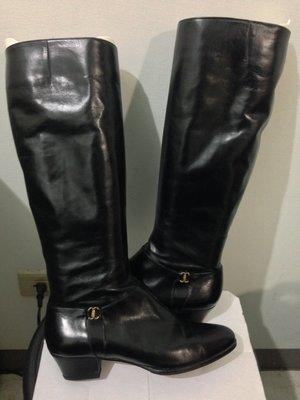 Salvatore Ferragamo VERO CUOIO 黑色牛皮尖頭長靴 6號 菲拉格慕