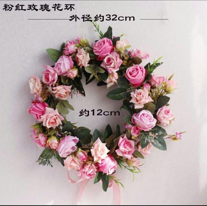 粉紅玫瑰精品屋~歐式仿真花環假花絹花門飾~粉紅玫瑰