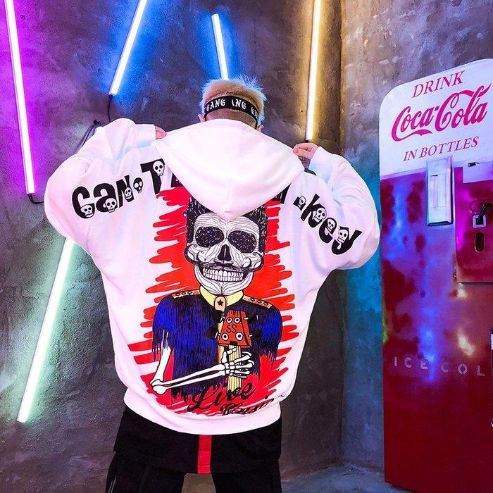 FINDSENSE 2019 春季 新款 韓國 街頭 嘻哈 塗鴉 字母 印花 時尚 寬鬆 個性連帽 衛衣 長袖 潮男