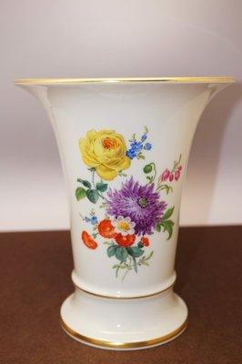 德國Meissen 手繪花卉24K描金 花瓶 1級典藏品