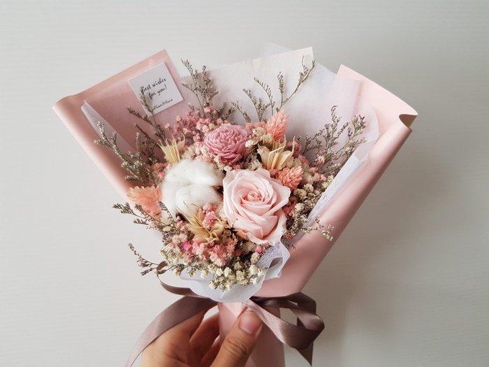 粉玫瑰永生+乾燥花迷你小花束│乾燥花束│台北歡迎自取西門1號出口【Flower&House花藝之家】