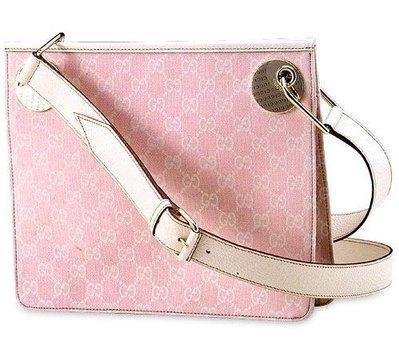 真品GUCCI-全新粉紅牛奶斜側背包