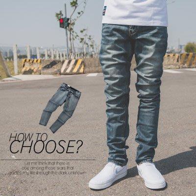 柒零年代【N9825J】微刷色後口袋皮革線條素面牛仔褲(UC2019)