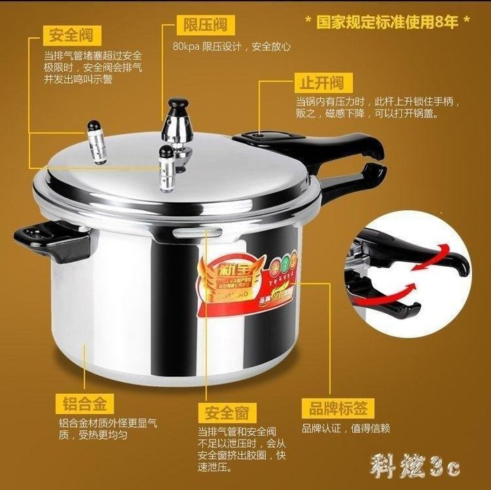 雨晴嚴選 高壓鍋電磁爐通用防爆壓力鍋居家用燃氣專用高壓鍋煲湯3人4人YQ565