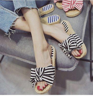 韓版時尚海運風條紋蝴蝶結平底拖鞋女夏季新款 一字拖 外穿百搭涼拖潮 蝴蝶結室內拖鞋