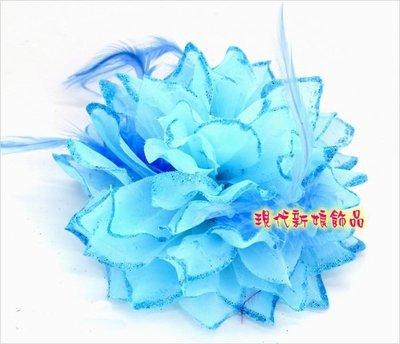 高檔婚紗禮服披肩 新娘披肩 披肩 婚紗禮服 ~C~427~天藍色th003頭花