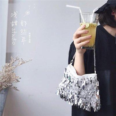 銀色亮片女包珍珠手提流蘇宴會包單肩斜跨錬條帆布小包閃
