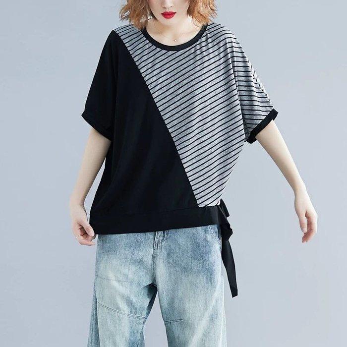 夏季新款條紋拼接顯瘦蝙蝠袖寬鬆T恤上衣 中大尺碼可