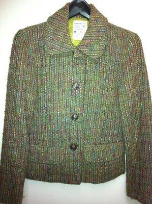 正韓 CLeaning 彩色線條復古俐落簡單大方版型毛呢西裝外套