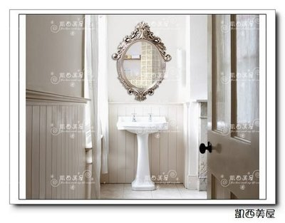 凱西美屋 新古典歐式立體浮雕鏡 銀箔浴...