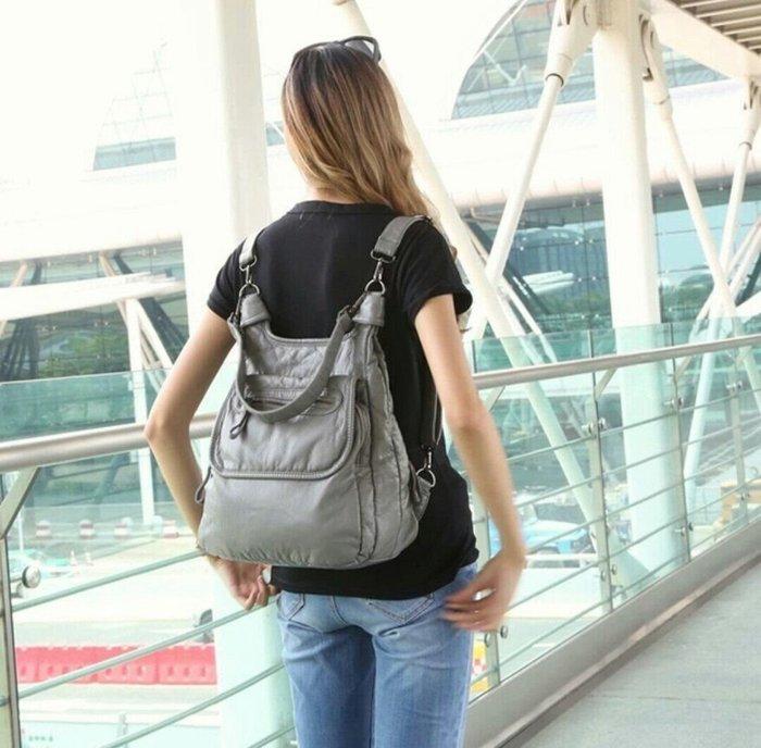 韓國 水洗皮 後背包 超軟 手感 肩背 斜背 書包 旅行包 好裝 輕盈 Me Gusta