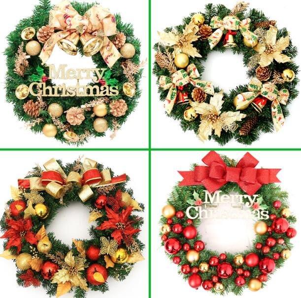 聖誕節花環 聖誕節花藤 聖誕節裝飾品挂件門挂30/45/60cm挂飾門飾場景布置用品聖誕樹花環—莎芭