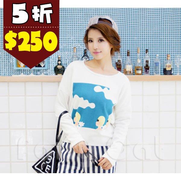 ❤❤Fairy Cat❤❤新款韓版俏皮安全帽女孩內刷毛圓領長袖T恤 3色 現貨