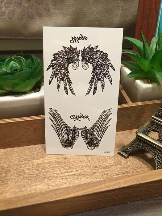 【萌古屋】X系列翅膀英文字X-141 - 男女防水韓風簡約紋身貼紙原宿刺青貼紙
