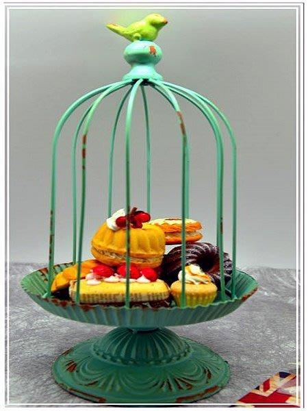 @@品登家具@@田園鄉村雜貨 鍛鐵 蒂芬妮藍 仿舊 鳥籠 園藝小擺飾 鐵器吊飾 蛋糕座 多肉植物.花藝裝飾座