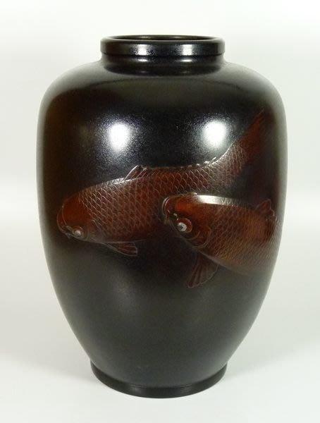 花見小路 113 大正時期 名家作品 鑄銅游鯉大花瓶  收藏品