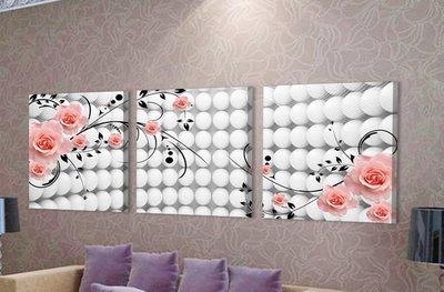 【厚2.5cm】玫瑰-客廳現代簡約裝飾畫無框畫【190114_159】【70*70cm】1套價