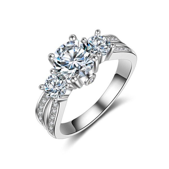 衣萊時尚-2017純銀仿真鉆戒女1克拉復古個性氣質群鑲鋯石戒指女求婚超大鉆