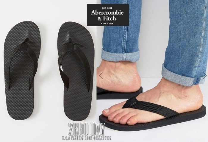 A&F真品Abercrombie&Fitch MIXED MEDIA RUBBER FLIP FLOPS人字夾腳拖鞋黑色