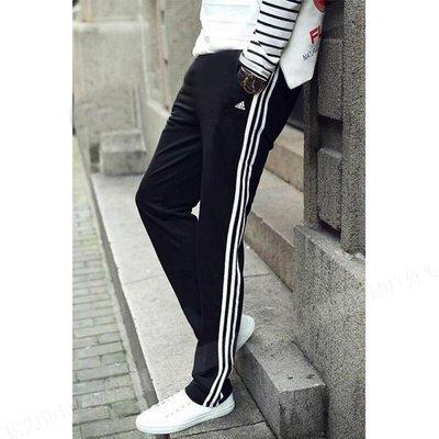 [MR.CH] Adidas 3S三線褲 窄版 直筒 刷毛 長褲 男版 基本款 黑白 BK7422