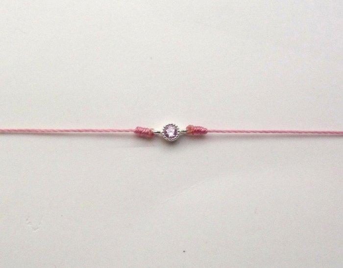 [Le Bonheur Line] 幸福線 手工/925純銀  超小 單鑽 紅線手鍊 redline 飾品 可愛 (改龍蝦扣)