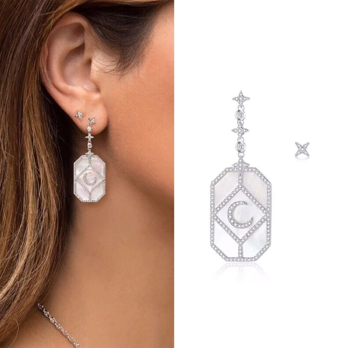 💎786、希臘珍珠母貝迷人夜月耳環💎Hermes agete