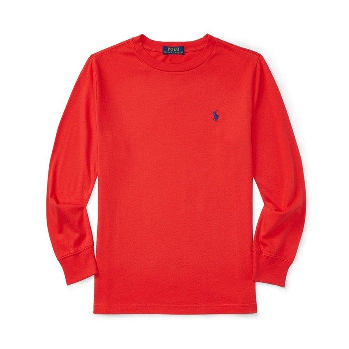 美國百分百【全新真品】Ralph Lauren RL polo 男 小馬 長袖 棉質 T恤 素面 上衣 紅色 A161