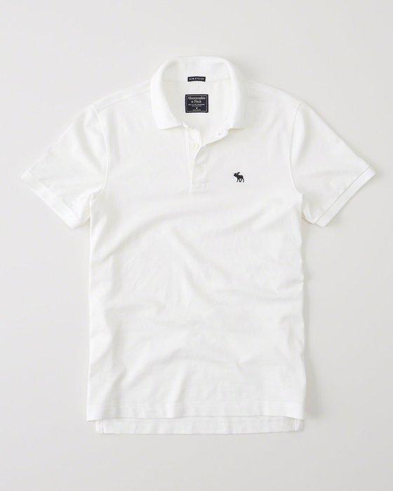 美國百分百【Abercrombie & Fitch】Polo衫 AF 短袖 麋鹿 男 素面 白色 XS S號 I063