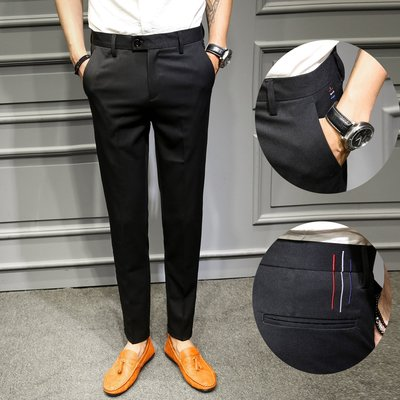 頹廢元素 - A 上班族必備 紅白藍線條 修身西裝褲 零碼出清不退換。