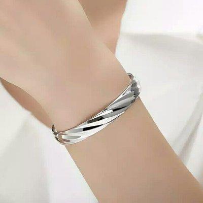 嗨,寶貝銀飾珠寶* 925純銀☆999純銀 內刻福字 超閃 螺旋造形實心 開口純銀手環 手鐲