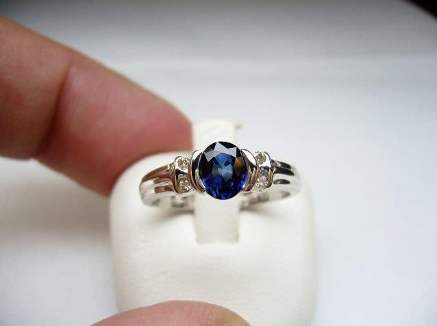 [吉宏精品交流中心]80分 天然藍寶石 天然鑽石 白K金 造型 戒指