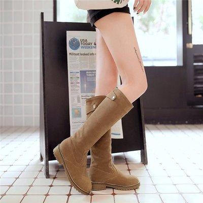 ~Linda~~顯瘦高筒靴 秋冬季平底中筒靴 圓頭磨砂女靴 平跟長靴 大碼長筒靴34-41碼