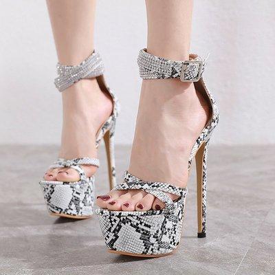 世界購 17明星同款16cm公分恨天高女鞋  超高跟細跟防水臺夜店性感蛇紋涼鞋