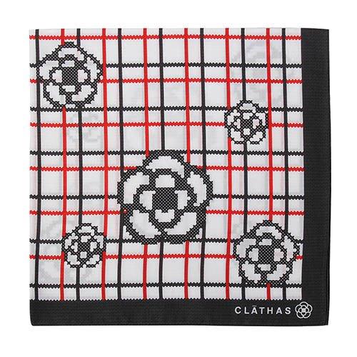【姊只賣真貨】CLATHAS 日本經典山茶花格紋純綿帕巾手帕(黑紅)