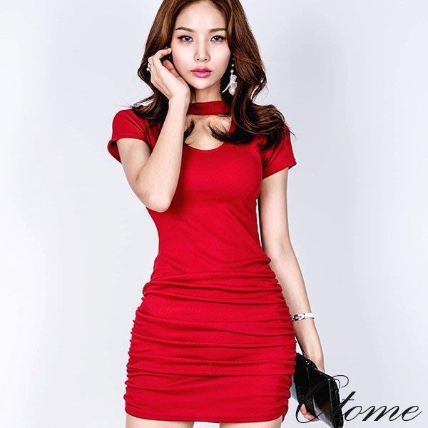 Otome.shop 正韓國空運 繞頸鏤空下襬抓皺螺紋短袖洋裝【7AUG3-9069171】紅現貨