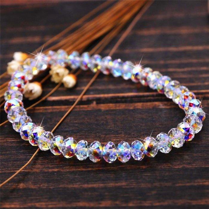 純手工編織白彩色水晶簡約時尚算盤珠水晶手鏈流行飾品 新麗小舖