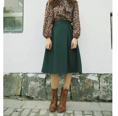 【Q比花園】C歐美復古高腰厚實質感 百褶裙 傘裙 及膝裙 大圓裙