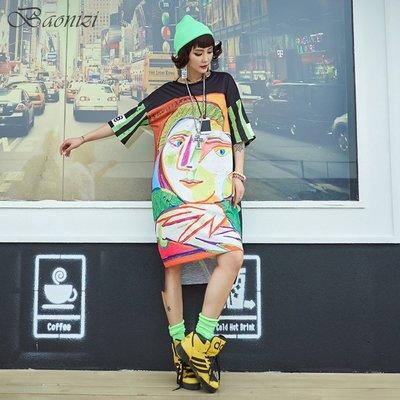 《現貨》 Oversize 303204 中大尺碼 運動休閒T恤裙 抽象誇張撞色設計 寬鬆舒適 Baonizi 寶妮子
