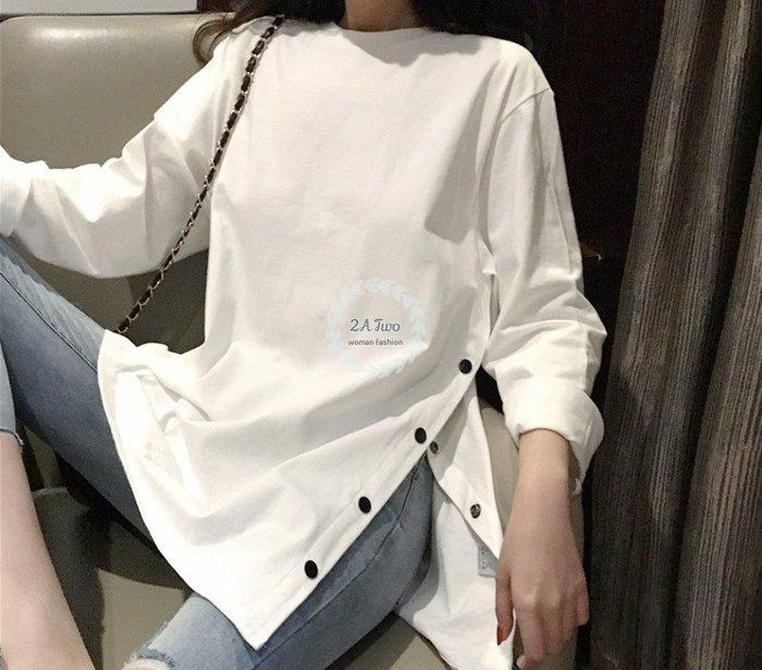 【2A Two】時尚簡約🌳質感開岔圓領T恤 中長款『BA0448』
