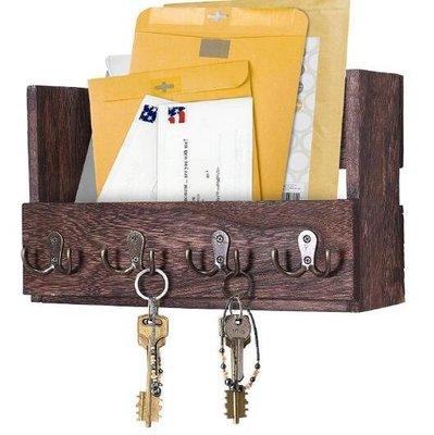 做舊風格實木桐木信件雜物雜貨收納盒儲物盒掛鈎牆壁上掛環衣服帽子包包掛勾