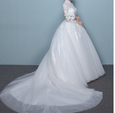 婚紗禮服長拖尾新娘修身2017新款立領顯瘦韓式簡約一字肩齊地婚紗
