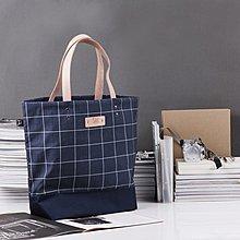 LeatherPan 手工皮革藍色格紋肩背托特包 格紋系列